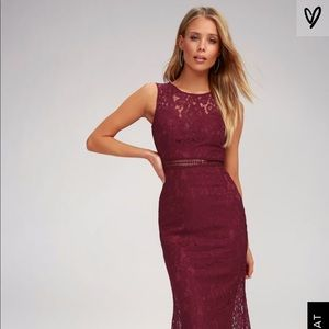 Lulu's music of the heart burgundy lace maxi, xs